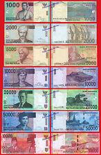 INDONESIA OLD 1000 2000 5000 10000  20000 50000 & 100000 Rupiah 2009/2016 UNC