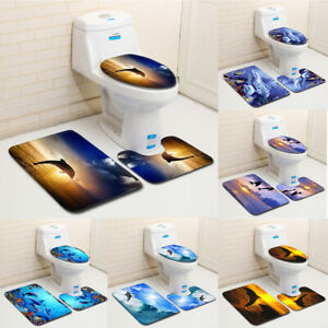 Dolphin Jumping Sunset Bath Mat Non-Slip Bathroom Rugs Toilet Pad Cover Decor