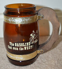 Vintage Siesta Ware Phillips 66 Amber Mug with Wood Handle
