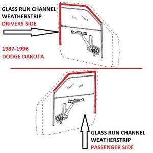 Glass Window Run Channel Seals Front Pair Set for 87-96 Dakota Pickup Truck