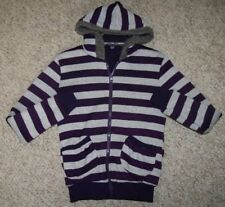 Small Hooded Sweatshirt Spoiled Gray Purple Hoodie Zip Front Polyester Striped