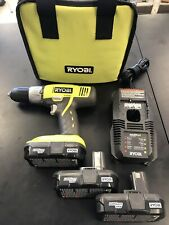 "RYOBI P271 18 V 1/2"" CORDLESS DRILL DRIVER + 3 Batteries &Tool Bag"