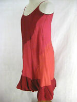 Size 8 10 Carl Kapp Pink Red & Orange Silk Cocktail Designer Dress