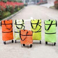 Folding Shopping Trolley Cart Bag Wheeled Foodstuff Shopper Portable Lightweight