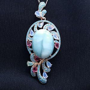 World Class 22.50ctw Larimar & Multi-Color Sapphire 14K Rose Gold 925 Necklace