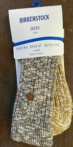 Birkenstock Slub Block Cotton Blend Mens Socks XL Sz 12-14 EU45-47 Brown Melange