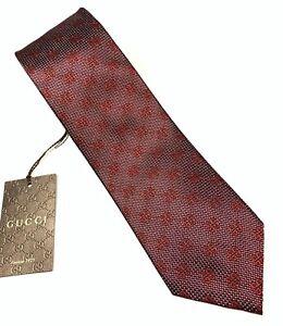 "NEW GUCCI GG Print Red Maroon Men's Silk Tie 3.25"""
