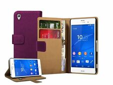 Wallet VIOLET Leather Case Cover Pouch For Mobile Phone Sony Xperia Z3 experia