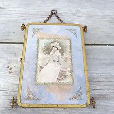 Antique French 1890 Victorian trifold mirror/ triple mirror / bronze frame