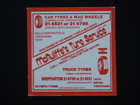McAULIFFE'S TYRE SERVICE 19 BENALLA RD SHEPPARTON 214531 RSL CLUB 213124 COASTER