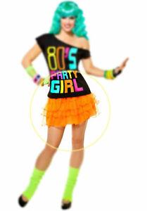 80's Party Girl Skirt Orange Poly Ruffled Elastic Waist Mini Skirt Costume Acces