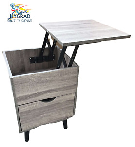 Wooden Brown Extendable Lift Top Bedside Table Nightstand With Storage Drawer