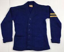 VTG 30's 40's Phoenix Knitting Mills Wool Button Sweater M Blue Yellow Stripes