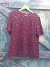 Womens Top Size 12 Red Burgundy Beaded Vintage 20s Style Evening Party Lined Vgc