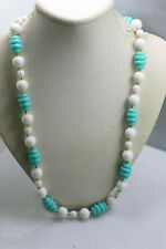 "minty light green blue necklace 24"" Vintage molded plastic chunky bead white"
