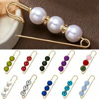Lady Pearl Crystal Womens Safety Pin Brooch Cardigan Breastpin Jewellery Wedding