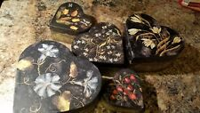 """Heart-Shaped Nesting Boxes, Set of 5, by Lang, Featuring """"Wildflowers"""" Design"""
