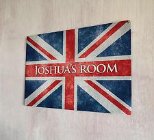 Personalizzata kids Room Union Jack segno A4 IN METALLO PORTA TARGA