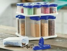 SALE! Tupperware 17 PC Spice Shaker Set w/Rotating Carousel Blue! SAVE SPACE