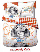 Completo lenzuola - copriletto. Singolo e Matrimoniale. MY COLORS - LOVELY CATS.