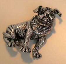 Silver French Bulldog Brooch / Pug Dog Costume Pin Pop Art Style