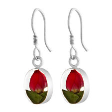 New Real Fower Teardrop Rosebud Drop Earrings
