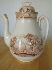 "Old Hall Staffordshire England Coffee/Tea Pot 10"" Tall Pat Italy Br.transferware"