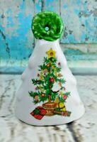 "Vintage Porcelain Christmas Tree Figurine Bell 3-1/2"" Tall"