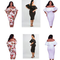 Plus Size Women Floral Layered Ruffle Off Shoulder Curvaceous Dress