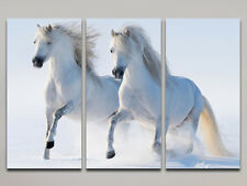 RUNNING HORSES LARGE CANVAS PRINT SET OF 3 (ON FRAME) WALL ART