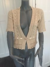 M&co size small Fawn Mosaic thin cable knit short sleeved cardigan