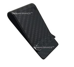 SERMAN BRANDS - Carbon Fiber Money Clip Wallet Credit Card Cash Holder Black
