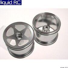 GPM Racing SMT0503F/L Losi Mini-T Aluminum Silver Front 5 Star Spoke Wheels (2)