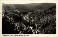 Friedrichroda Thüringen DDR Postkarte 1956 Blick vom Gottlob in den Grund Wald