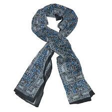 Sciarpa indiana Paisley floreale colore nero 180x50 cm 100% cotone