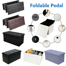 Pedal Folding Storage Box Large Faux Leather Pouffe Seat Stools Box Lazy kick