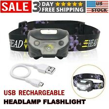 Headlamp Flashlight USB Rechargeable Outdoor Hands Free Head Band Lamp LED Light