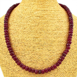 225.00 Cts Earth Mined Red Ruby Round Shape Faceted Beads Necklace JK 18E166