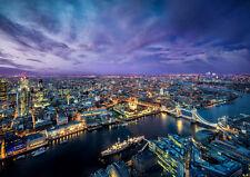"LONDON EVENING CITY LIGHTS NEW A4 CANVAS GICLEE ART PRINT POSTER 11.7""x8.3"""