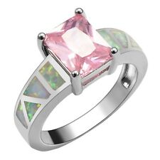 """GORGEOUS WHITE FIRE OPAL/PINK PINK TOPAZ  RING UK Size """"Q""""  /  US SIZE  8.5"""