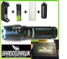 SHADOWHAWK X800 Tactical Flashlight LED Zoom Military Torch G700 Battery + Case