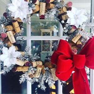 Christmas wine lovers cork wreath 12x12