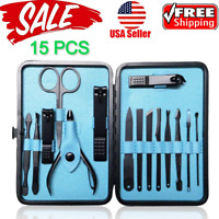 15PCS/Set Manicure Pedicure Set Nail Clippers Callus Remover Kit Hand Foot Care
