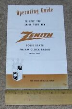 ZENITH Operating Guide for Solid State AM FM Clock Radio Model E462