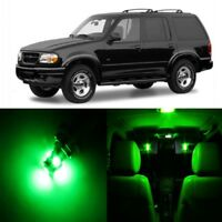 10 x Green LED Interior Light Package For 1995 - 2001 Ford Explorer + Pry TOOL