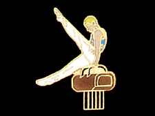 Men's Pommel Horse Gymnastics Lapel Pin - Creative Cutout Design