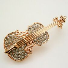 "Joan Rivers Pave Violin Brooch   2""  Rosegold"
