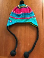 Catimini Multicolored Fleece Lined Knit Earflap Braided Ties Hat-3 Years