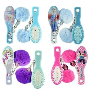 Kids Girls Hair Brush Wd Pom Pom,Detangler Oval Hair Brush, X'mas,Birthday Gift