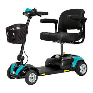 Roma Lightweight Portable Travel Mobility Scooter in Aqua Blue With Basket